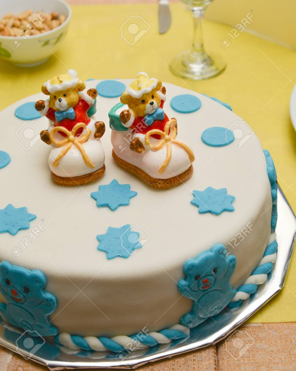 Baby Boy Birthday Cake With Cute Shoes Stock Photo Picture And Royalty Free Image Image 20890172