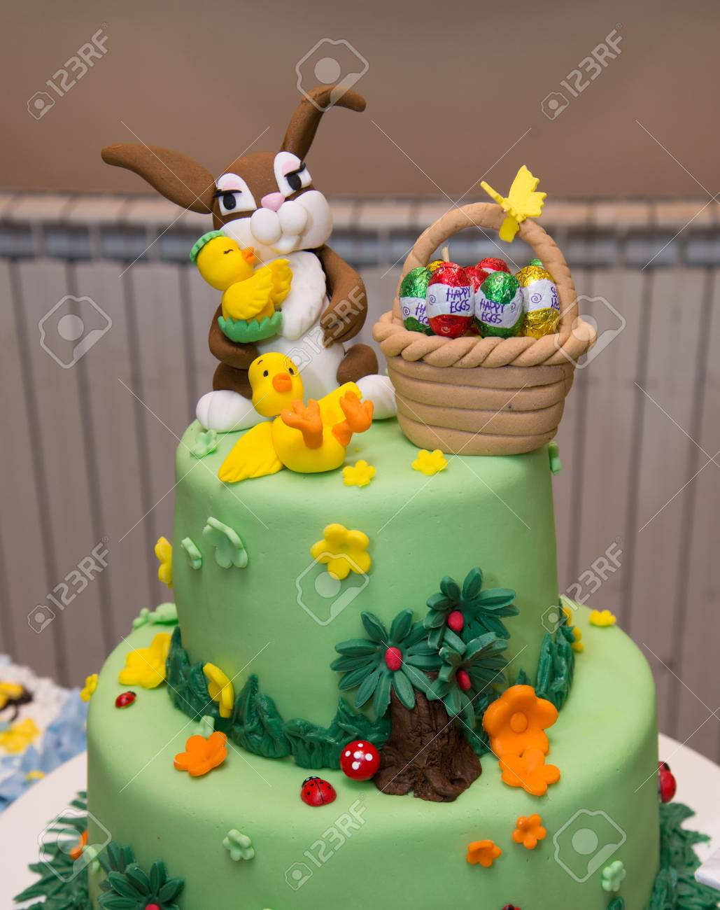 Baby Boy Birthday Cake With Bunny Decoration Easter Stock Photo Picture And Royalty Free Image Image 81283701