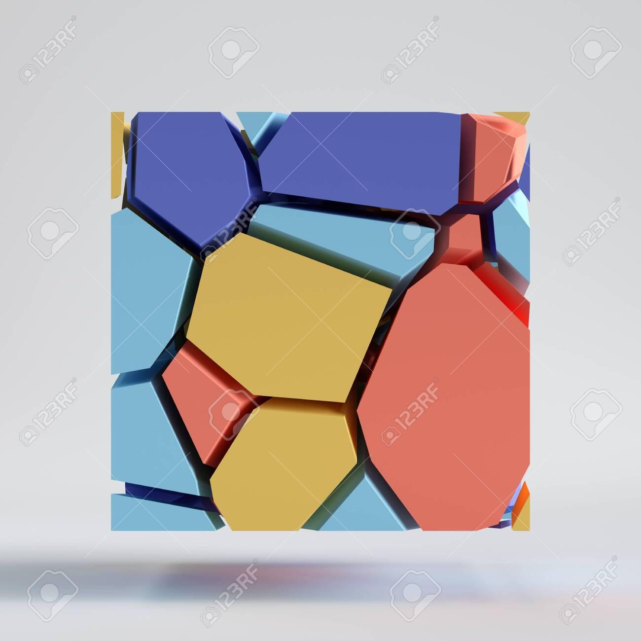 3d render abstract colorful random mosaic tile cut pieces