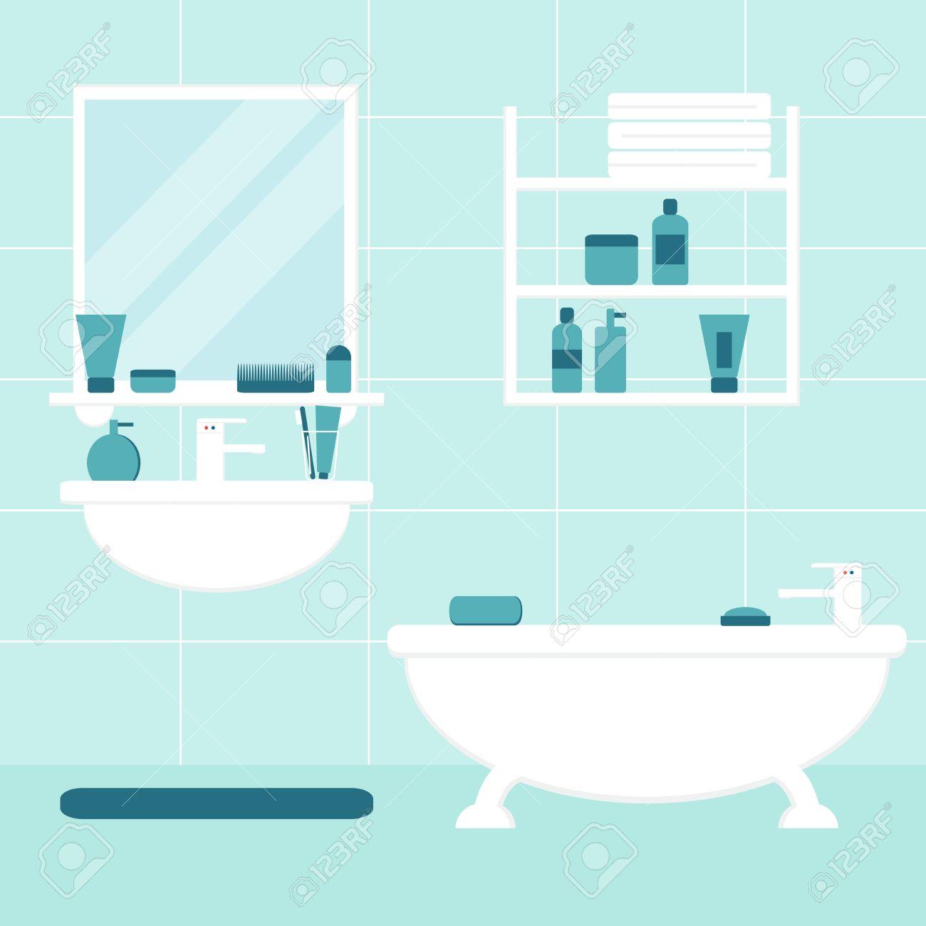 salle de bain bathroom interior meubles de salle isolee sur fond baignoire lavabo miroir etagere meubles de salle de bains avec des elements de