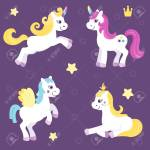 Set Of Cute Unicorns And Beautiful Horses Pretty Pony For Little Royalty Free Cliparts Vectors And Stock Illustration Image 127194080