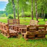 Outdoor Furniture Made From Wood Pallets Surrounded By Trees Stock Photo Picture And Royalty Free Image Image 154160413