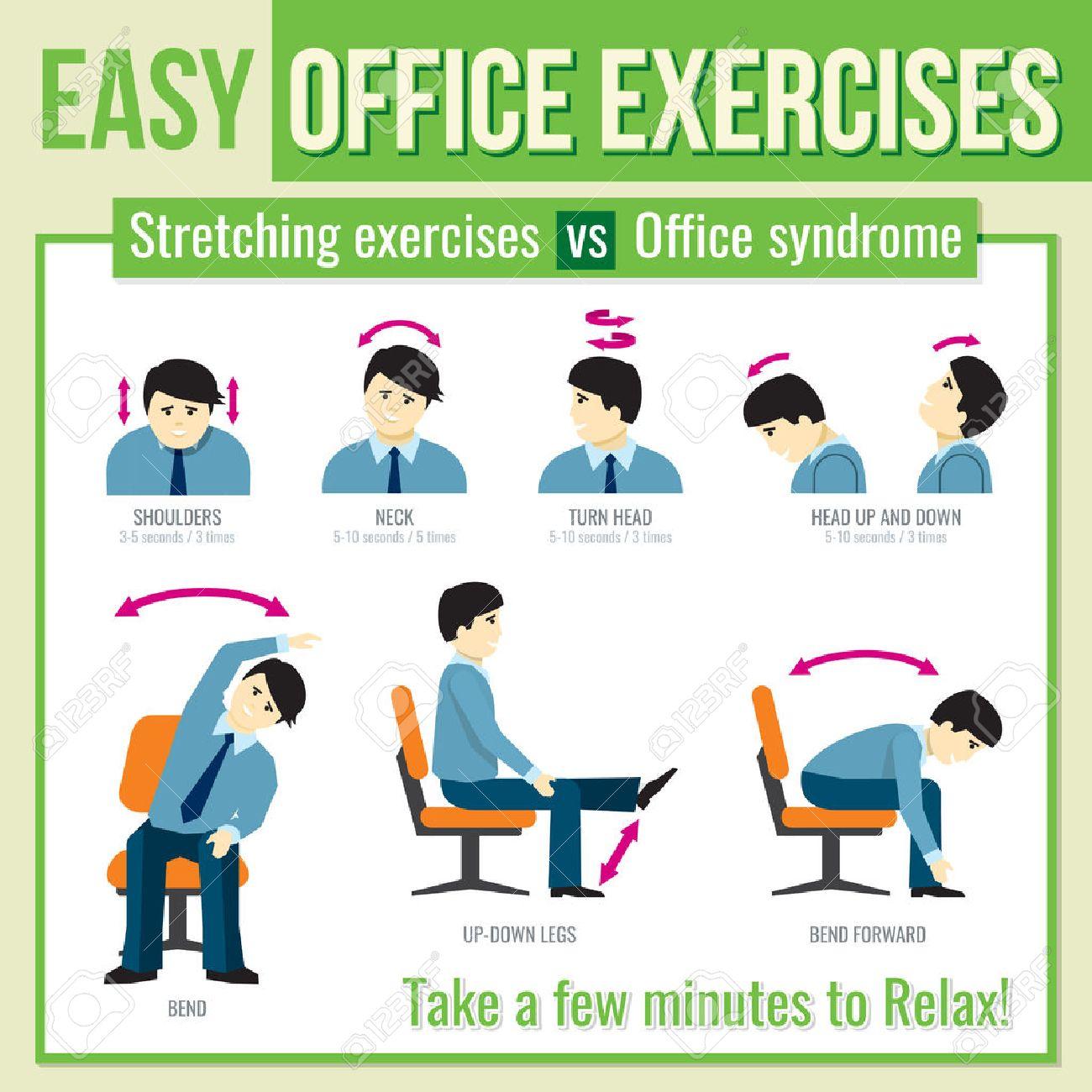 banque d images bureau d exercices avec un caractere d affaires detendez vous l exercice l exercice de sante infographique l homme tourner la tete