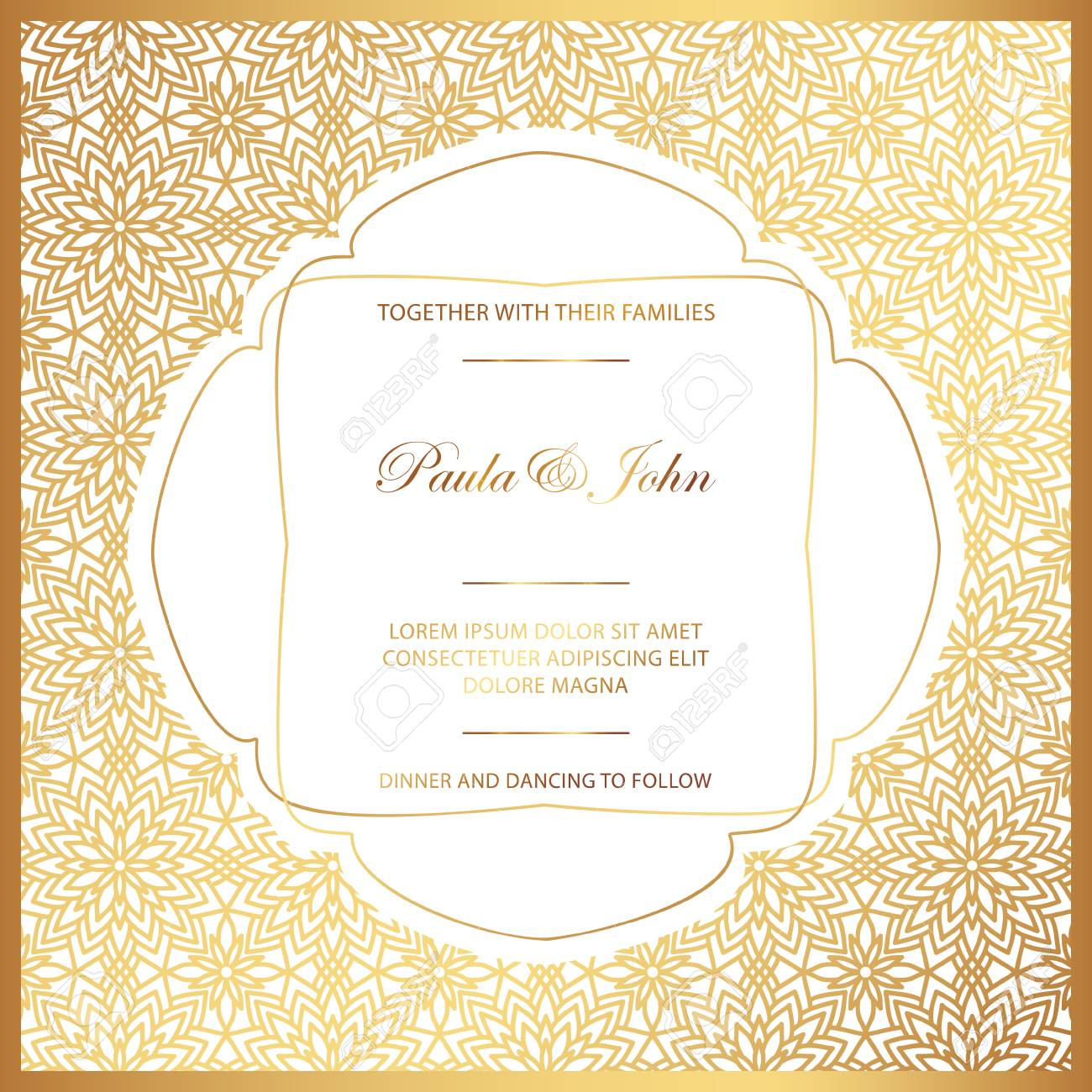 stylish gold and white wedding card royal vintage wedding invitation royalty free cliparts vectors and stock illustration image 98618064