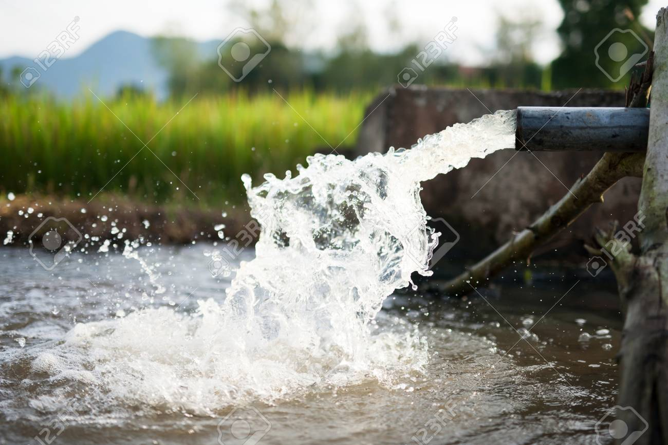 Irrigation Water Flow From Pipe To Canal For Rice Fields And Stock Photo Picture And Royalty Free Image Image 87490535