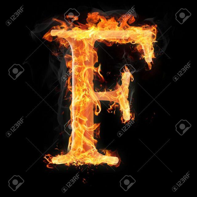 Foto De Archivo Las Letras Y Los Simbolos En El Fuego Letra F