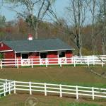 A Red Barn And White Horse Fence Stock Photo Picture And Royalty Free Image Image 2026716