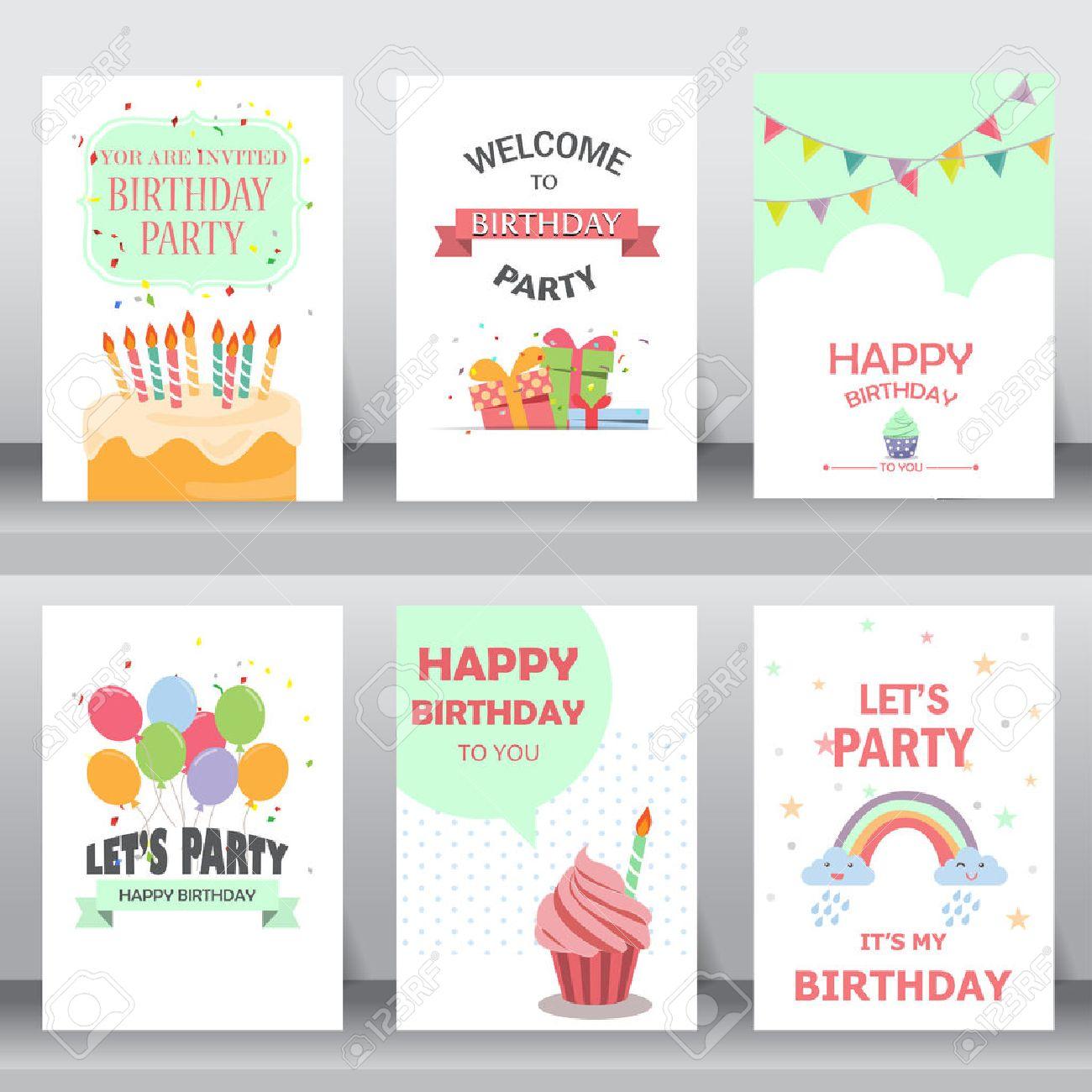 joyeux anniversaire vacances salutation de noel et une carte d invitation il y a des ballons des boites cadeaux des confettis cup cake modele