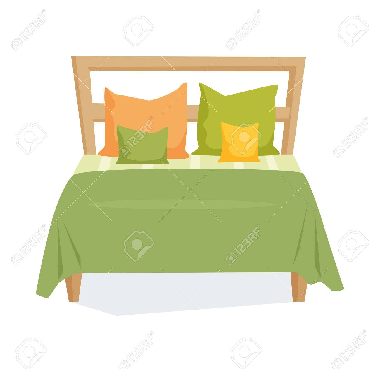 double bed and pillow with blanket in modern style double bed