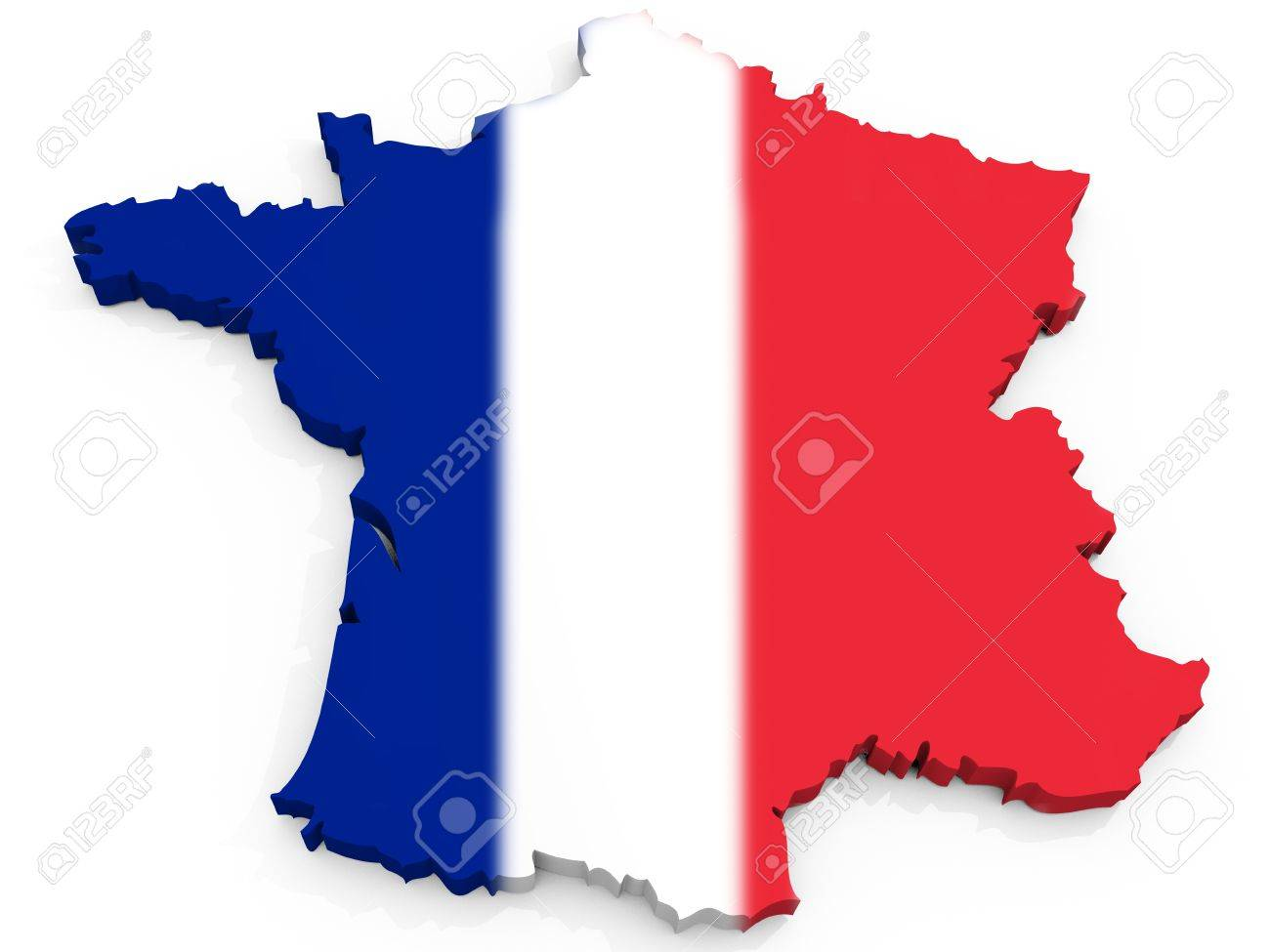 3D Map Of France With Flag  French Republic Stock Photo  Picture And     3D Map of France with flag  French Republic Stock Photo   10385147