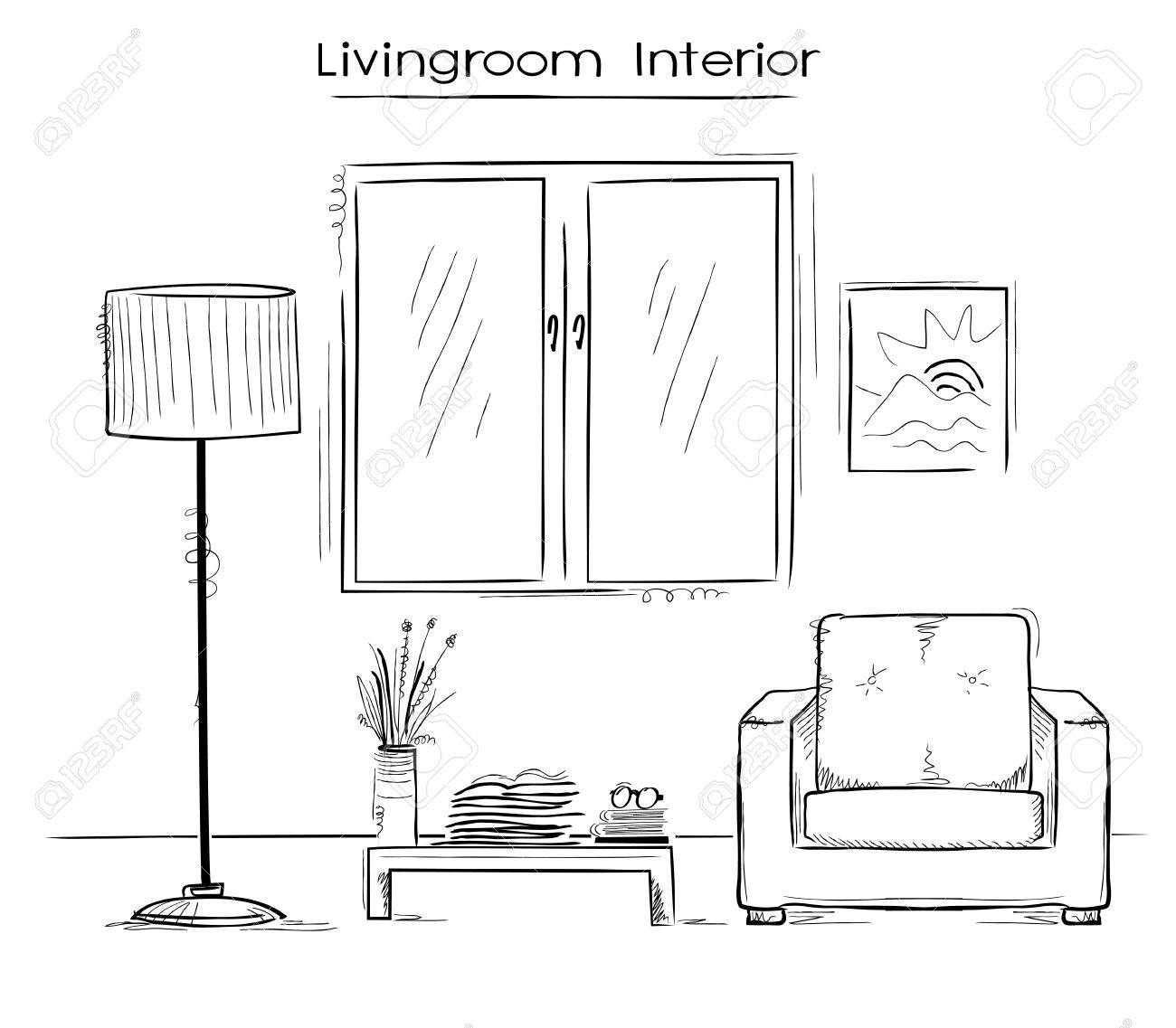 Sketchy Illustration Couleur De L Interieur De La Chambre Dessin Maison Moderne Main Clip Art Libres De Droits Vecteurs Et Illustration Image 57016248