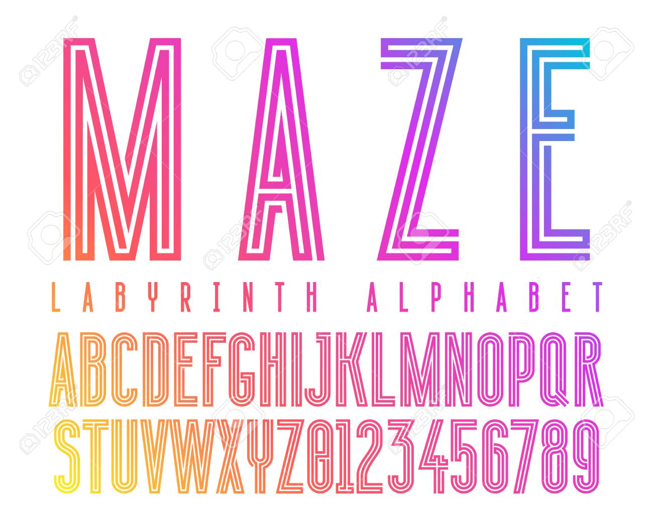 Futuristic Maze Alphabet Letters Geometric Labyrinth Font On Royalty Free Cliparts Vectors And Stock Illustration Image 127721819