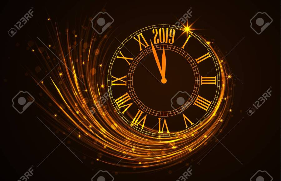 Happy New Year 2019  Vector Illustration Of New Year Background     Happy New Year 2019  vector illustration of new year background with clock  showing year Stock