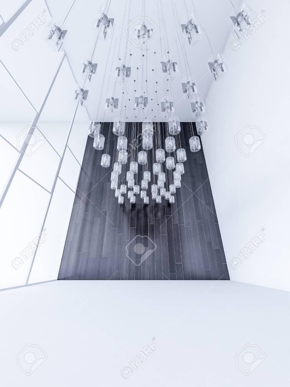 3ds rendu interieur haut plafond blanc salon qui a beaucoup de lampes hachees du plafond