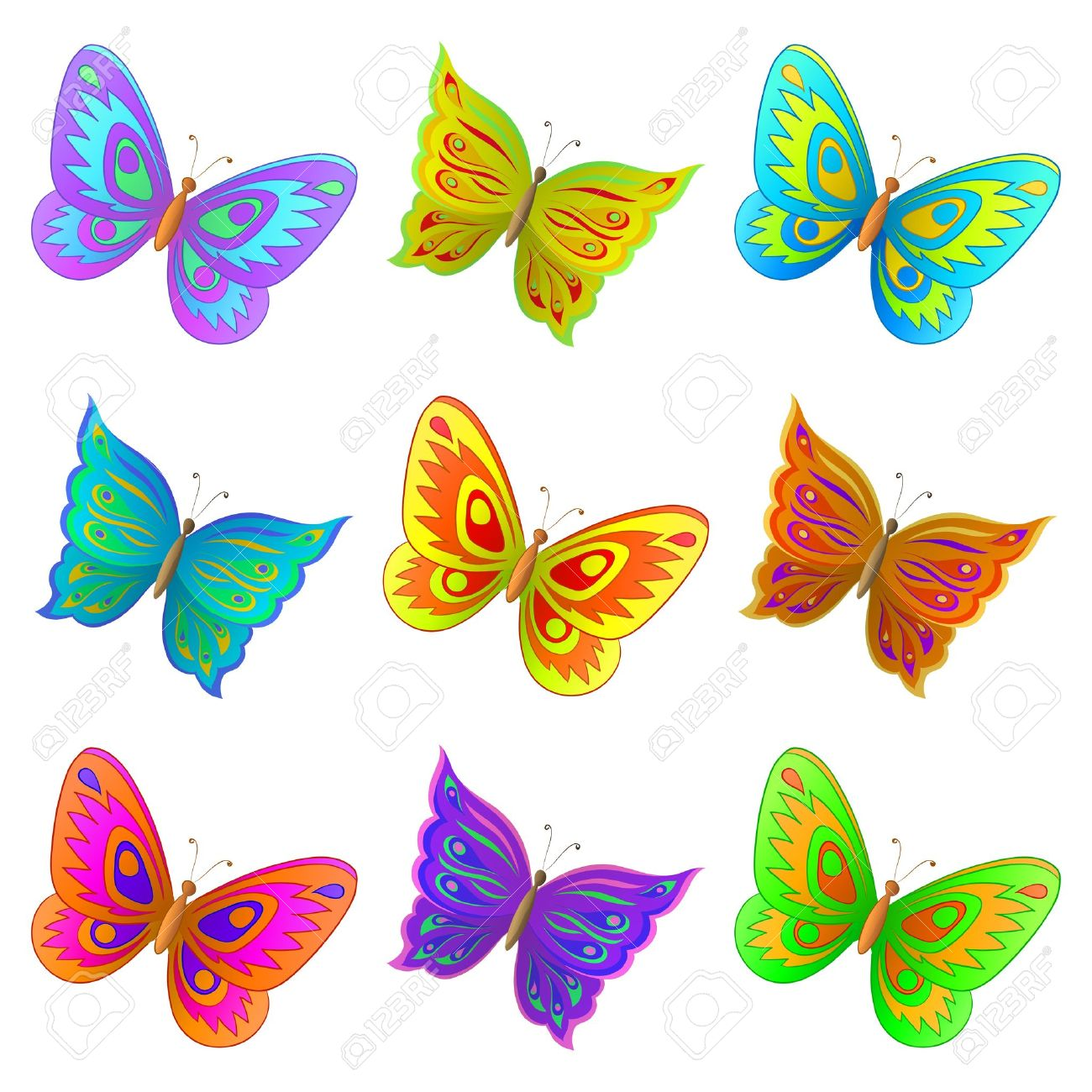 vector set from nine various color flying butterflies royalty