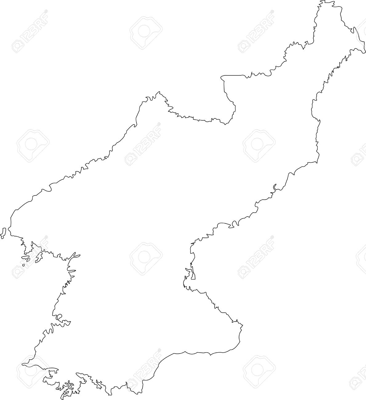 Contour Map Of South Korea Map Black Outline North Korea Royalty Free Cliparts Vectors And Stock Illustration Image 103830093