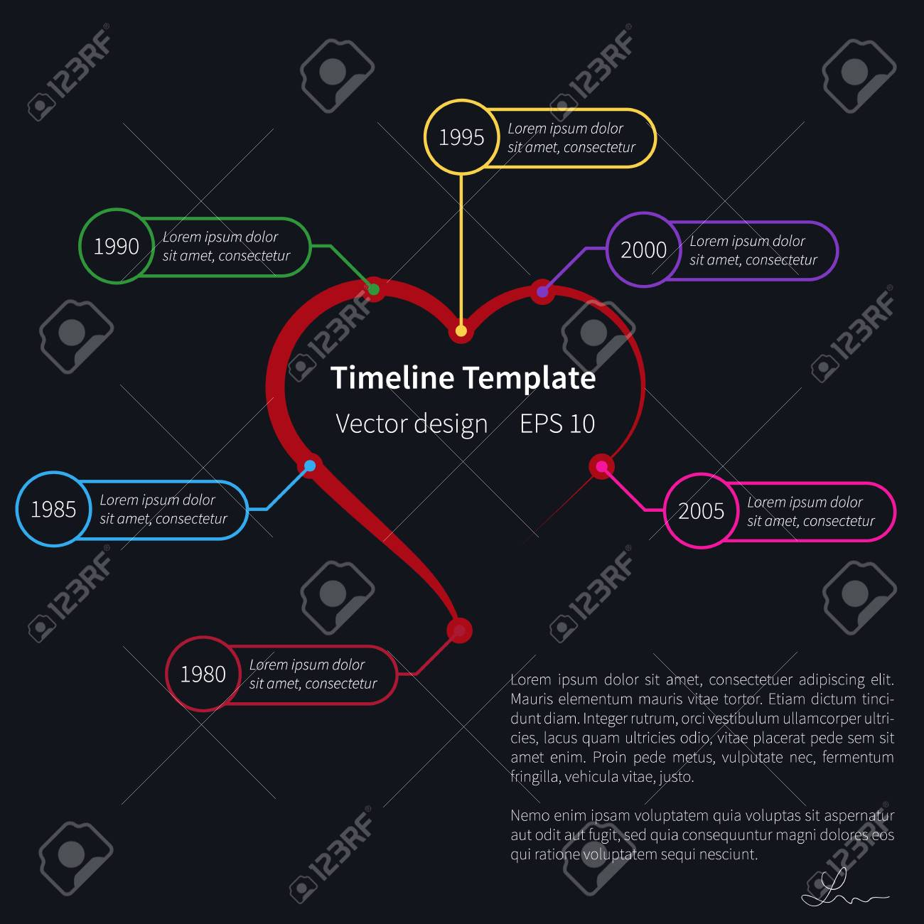 Timeline Template On Dark Background With Heart Shape Royalty Free     timeline template on dark background with heart shape Stock Vector    51655371