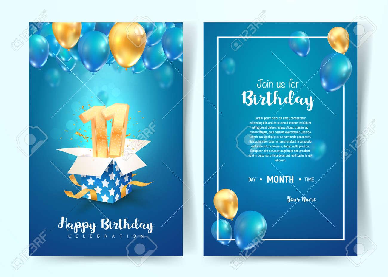 celebration of 11th years birthday vector invitation card eleven