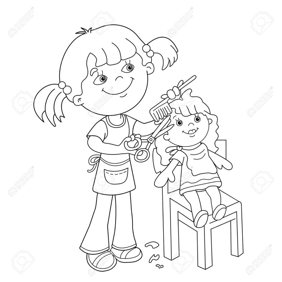 人形の理髪店でプレーをくしし、はさみで女の子を漫画ページのアウトラインの色します。子供のための塗り絵