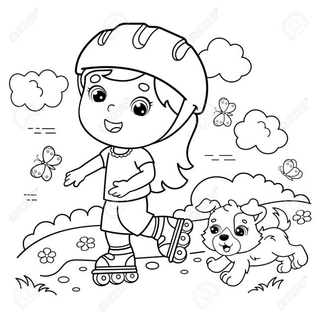 Coloring Page Outline Of Cartoon Girl On The Roller Skates With A
