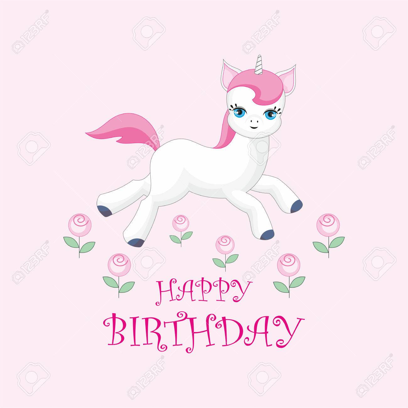 Happy Birthday Greeting Card With The Image Of Cute Unicorn Royalty Free Cliparts Vectors And Stock Illustration Image 77414662