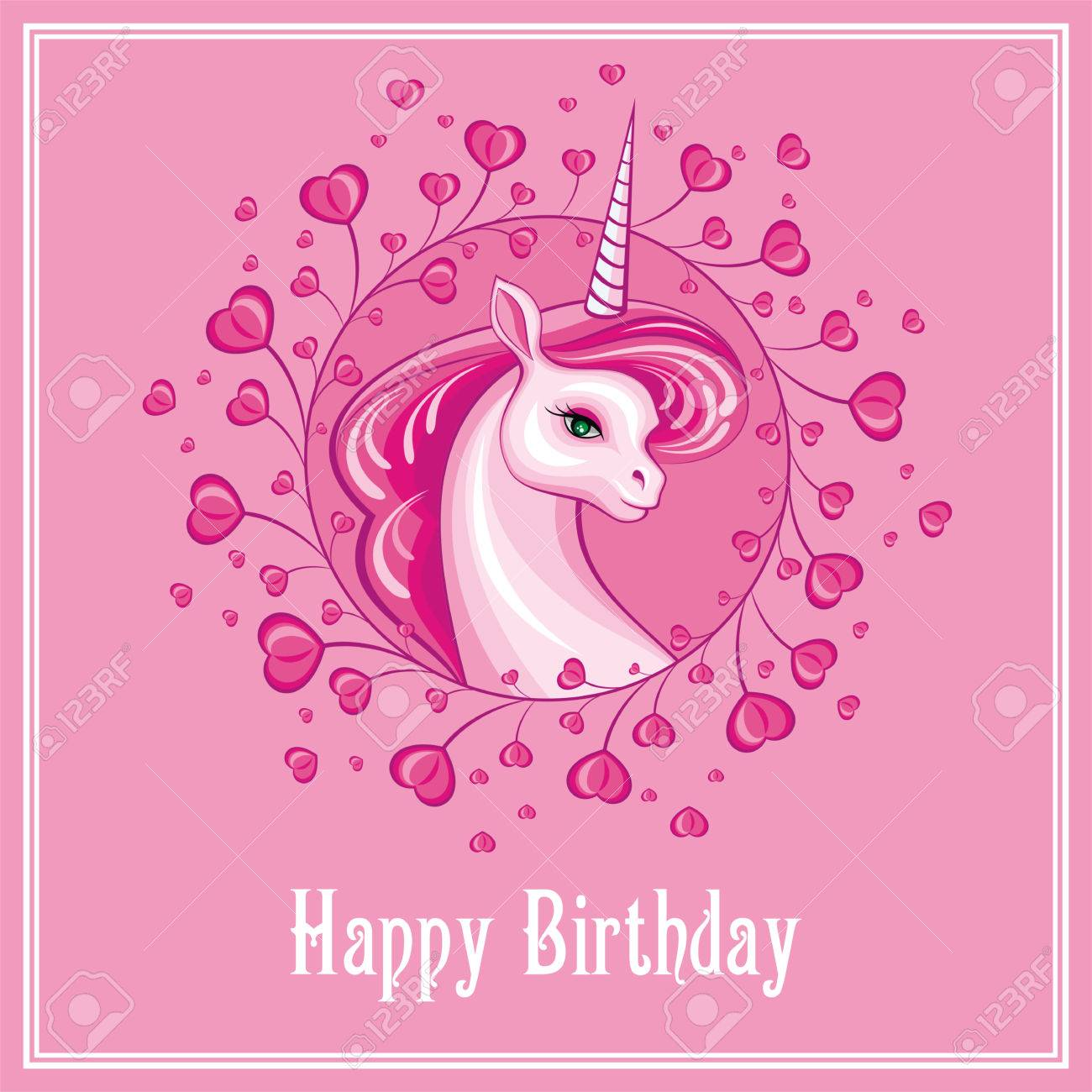 Happy Birthday Greeting Card With The Image Of A Beautiful Fantastic Royalty Free Cliparts Vectors And Stock Illustration Image 78274721