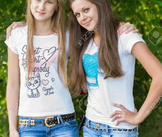 Stock Photo Teen Girls In The Park
