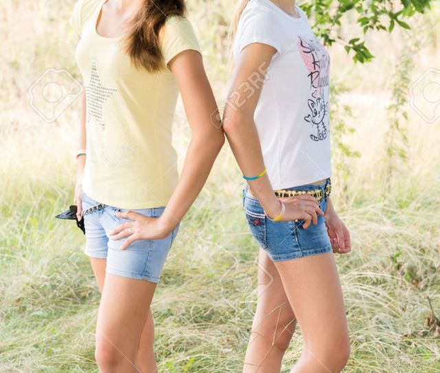 Stock Photo Two Teen Girls In Nature