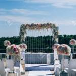 Wedding Decorations From Flowers And A Wedding Arch For The Ceremony