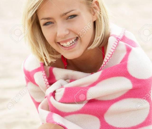 Portrait Teenage Girl On Beach Stock Photo 11246564