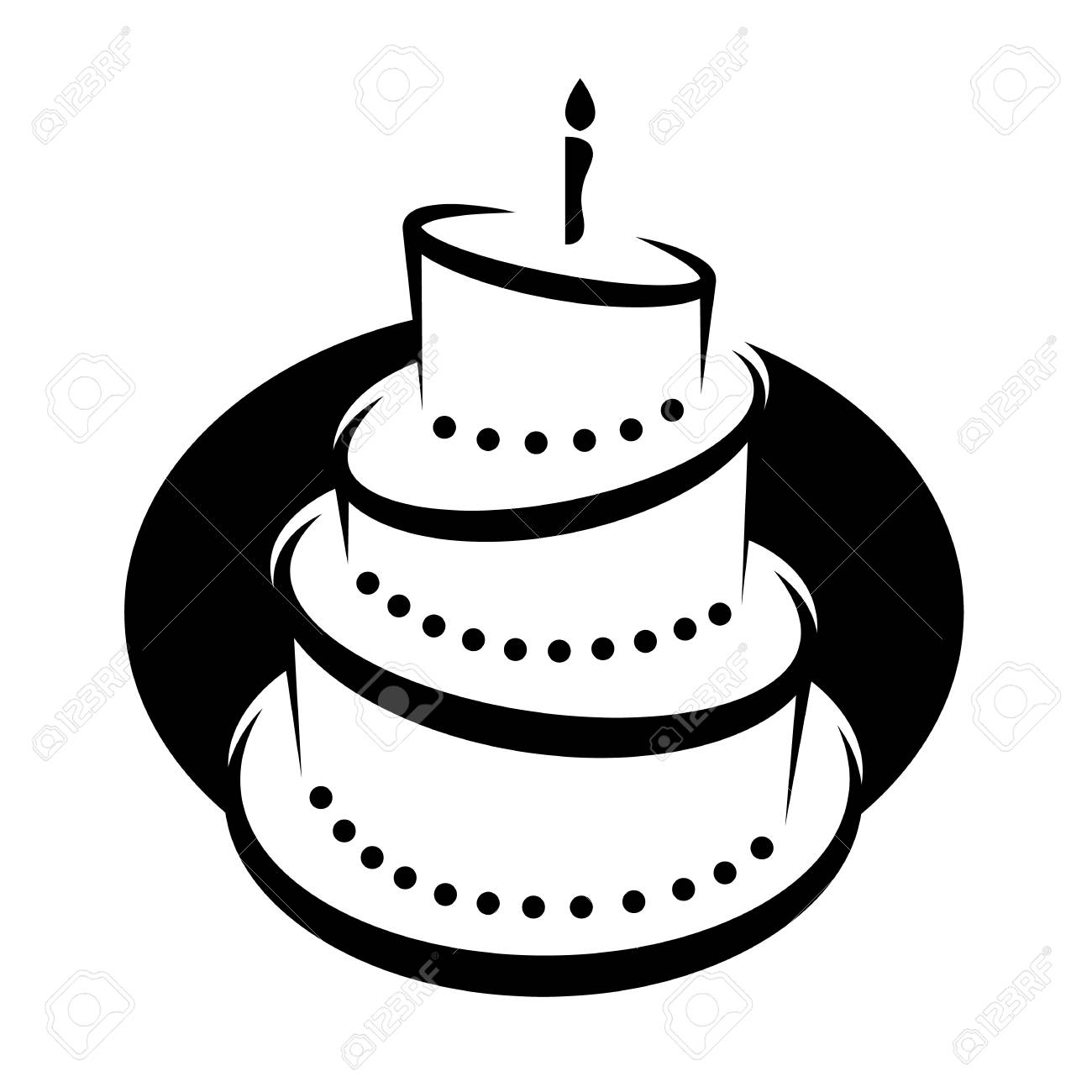 Clip Art Of A Black And White Tiered Birthday Cake With Candles Royalty Free Cliparts Vectors And Stock Illustration Image 124846286