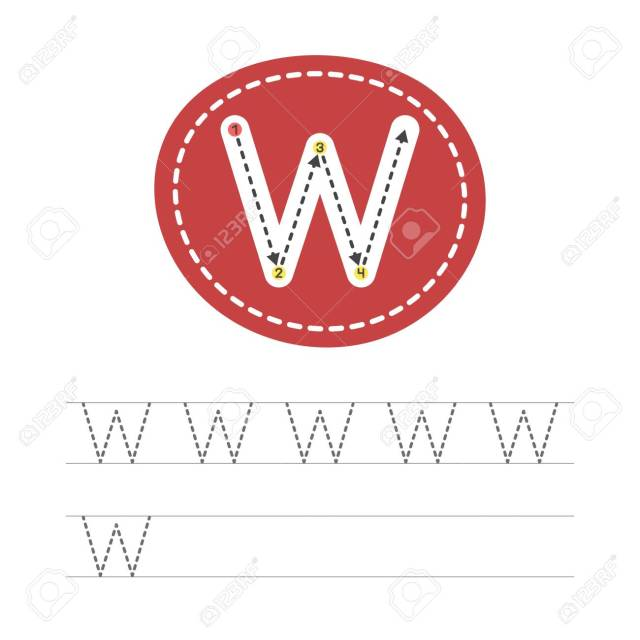 Learning To Write A Letter - W. A Practical Sheet From A Set Of