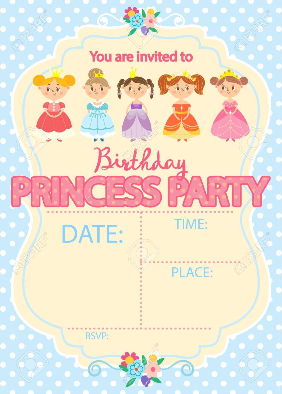 princess birthday party invitation template card