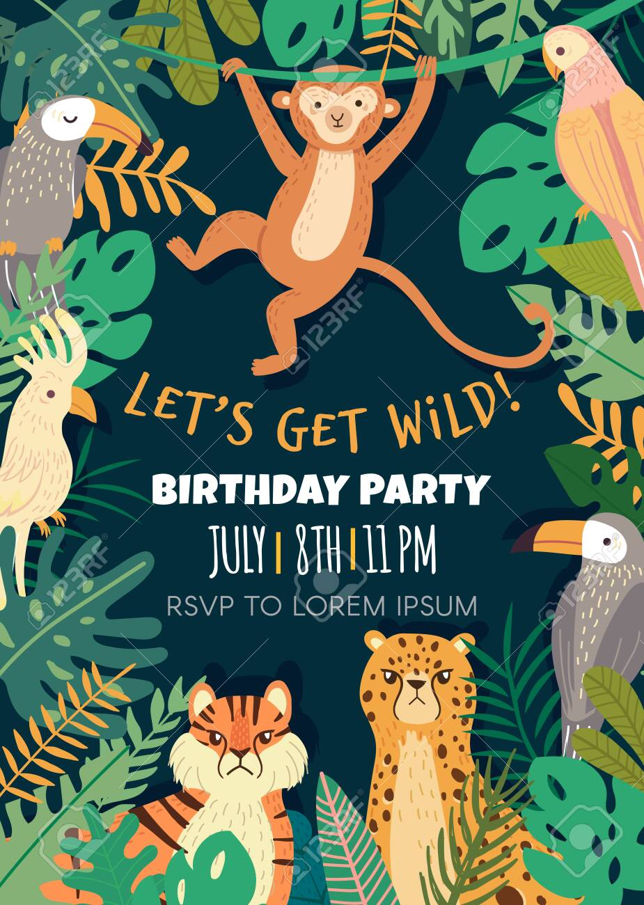 birthday invitation with with tropical animals and bird in jungle