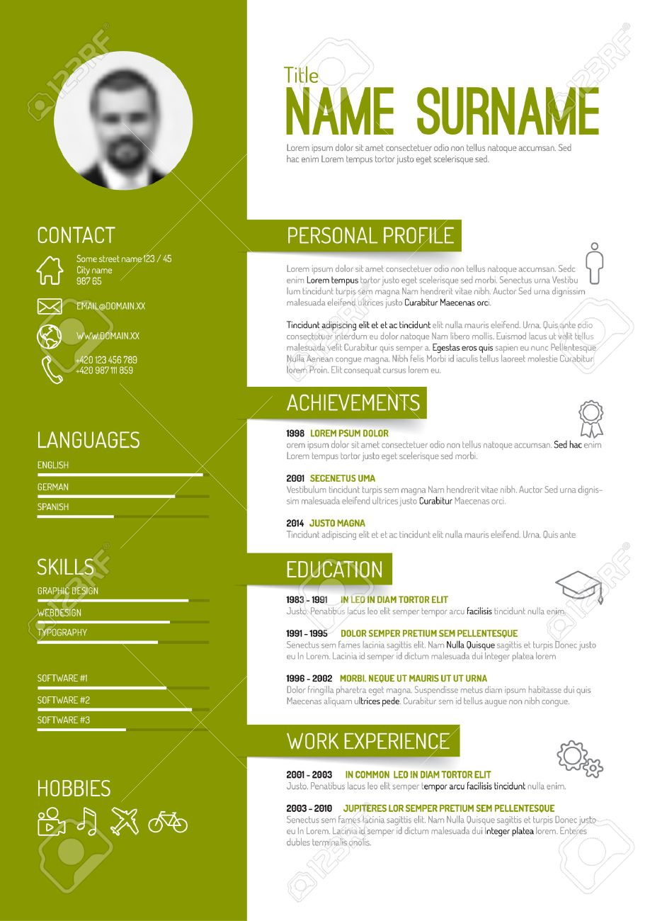 vector minimalist cv resume template green version royalty