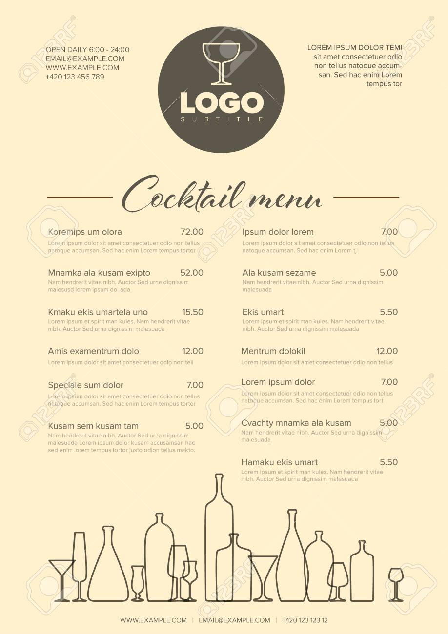 Modern Light Brown Minimalistic Cocktail Menu Template With Two
