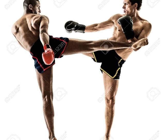 Stock Photo Two Caucasian Muay Thai Kickboxing Kickboxer Thai Boxing Men Isolated On White Background