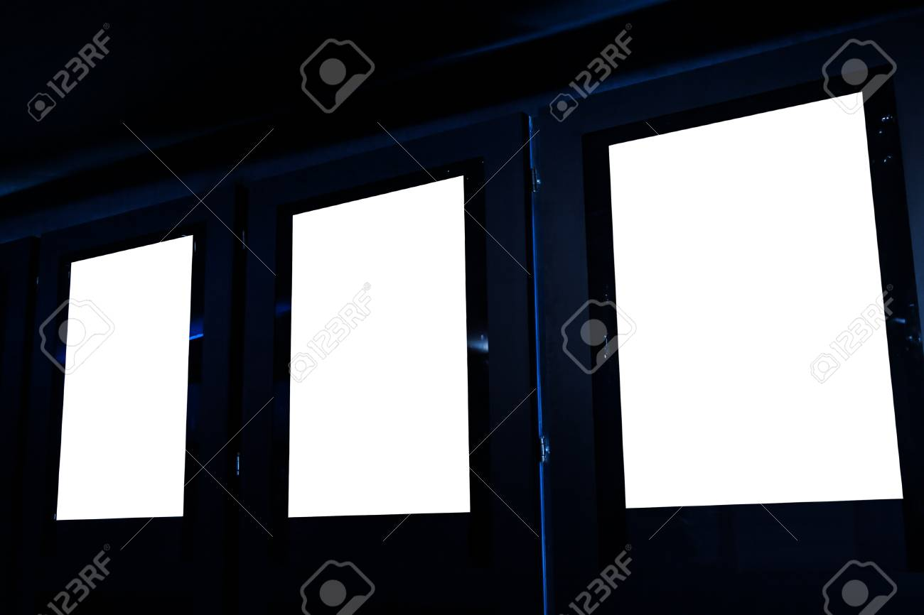movie poster frame board inside cinema isolated