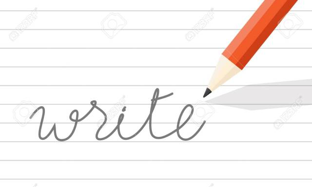 """Orange Wooden Pencil Write On Line Paper. The Word """"write"""" One"""