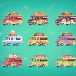 Set Of Flat Food Truck Icons Modern Design Concept Compositions Royalty Free Cliparts Vectors And Stock Illustration Image 89267692