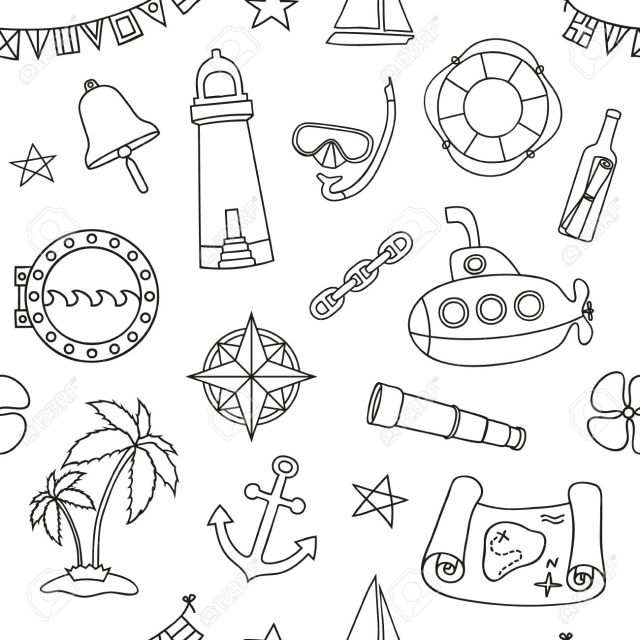 Seamless Nautical Pattern. Graphic Design Elements For Printables