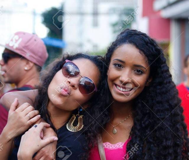 Sao Paulo Brazil June   An Unidentified Two Girls Celebrating