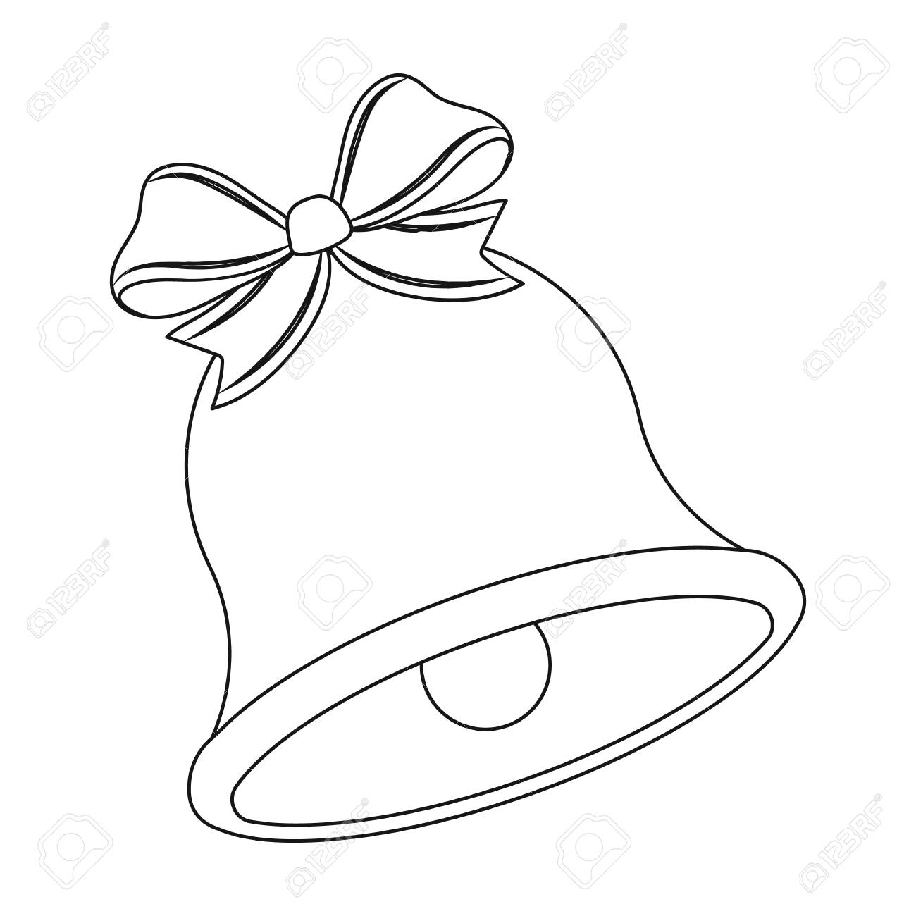 Christmas bell single icon in outline style for design christmas