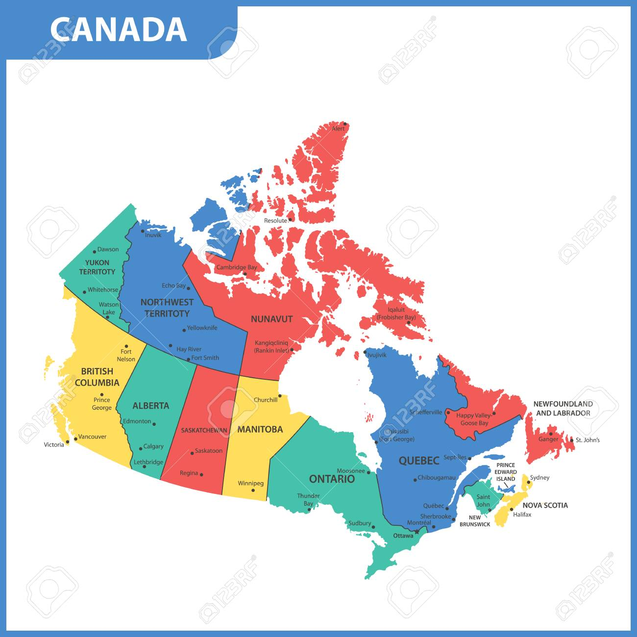 The Detailed Map Of The Canada With Regions Or States And Cities Royalty Free Cliparts Vectors And Stock Illustration Image 102774102