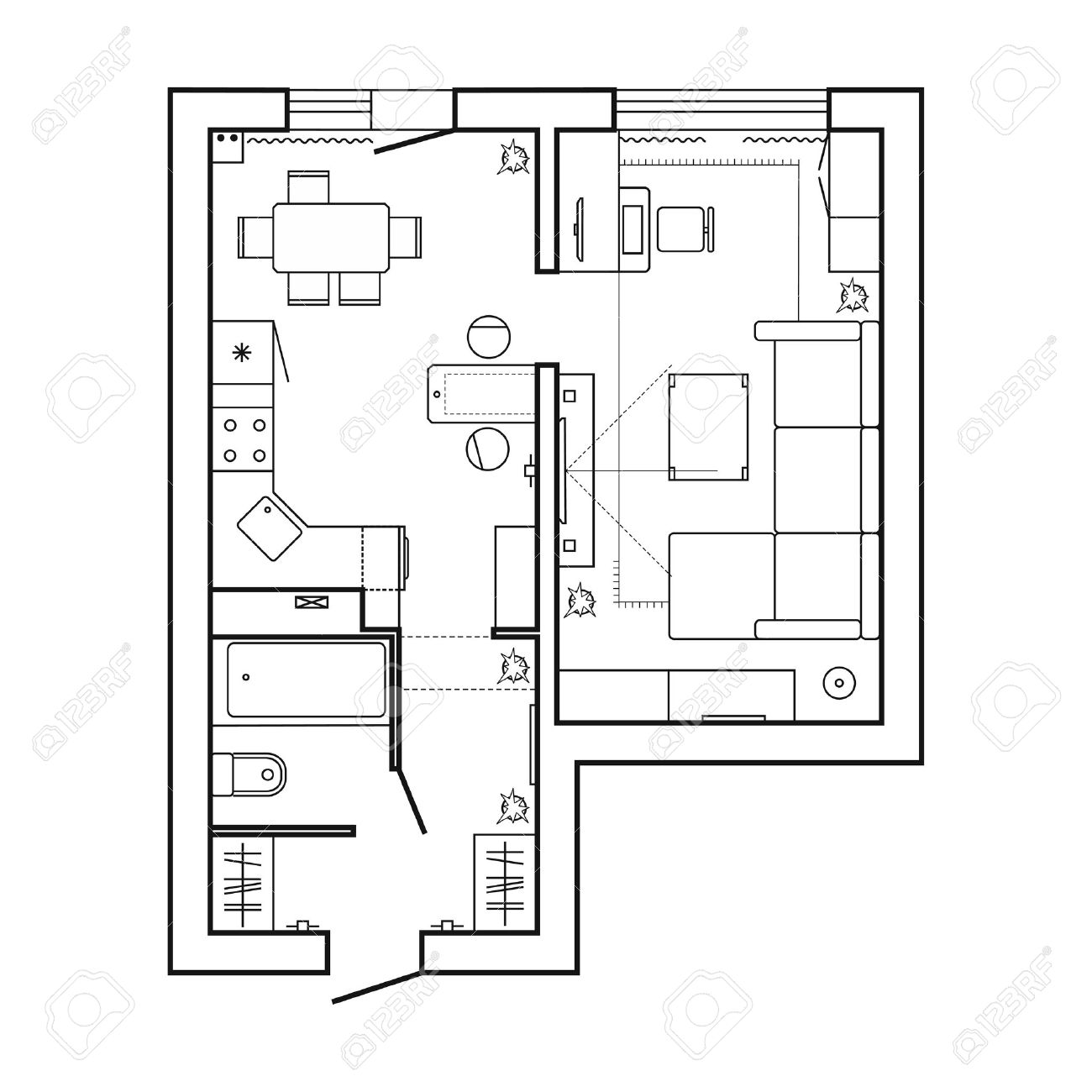Architecture Plan With Furniture House Floor Plan Kitchen Royalty Free Cliparts Vectors And Stock Illustration Image 81185167