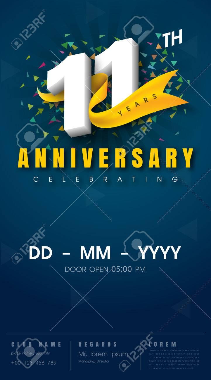 carte d invitation anniversaire 11 ans conception de modele de celebration elements de design moderne 11e anniversaire fond bleu fonce