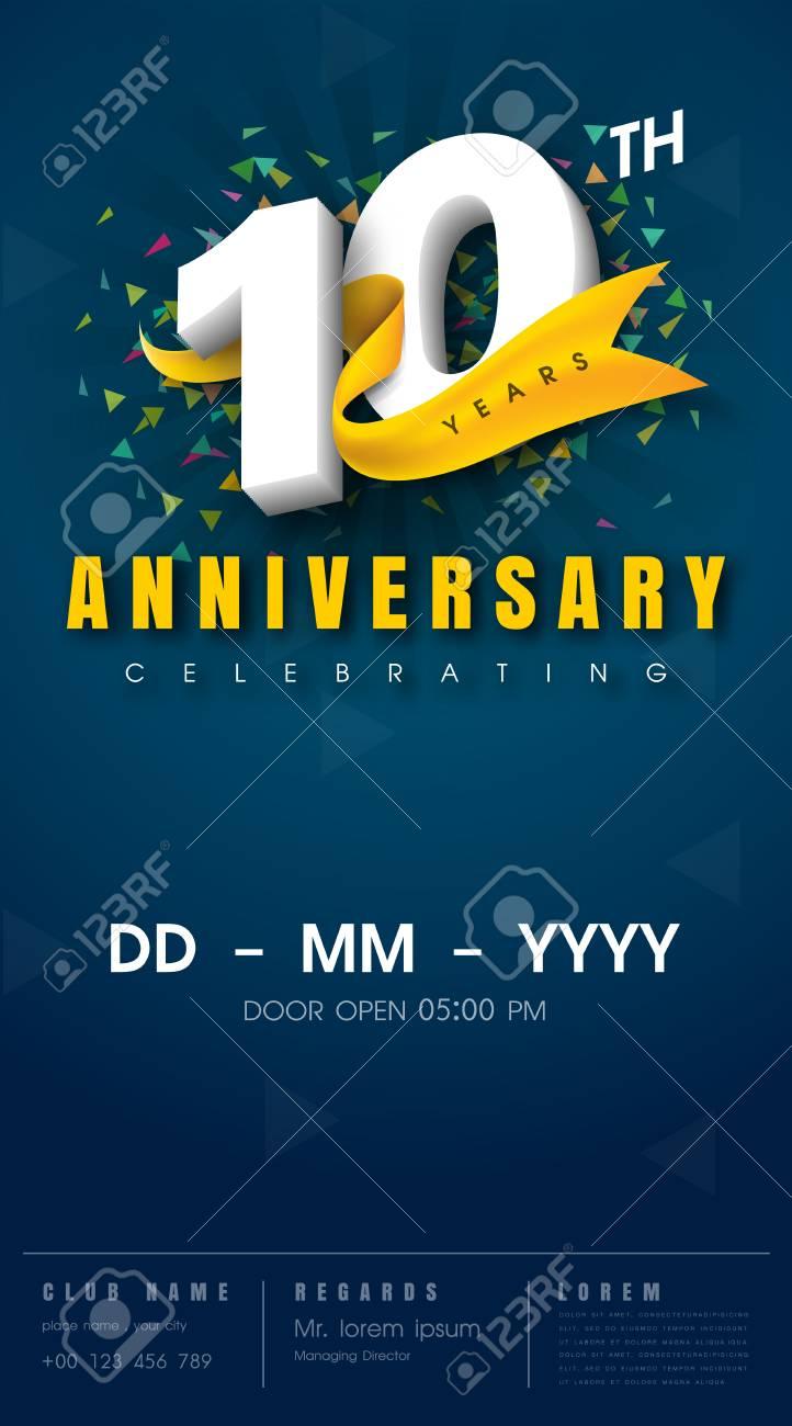 carte d invitation anniversaire 10 ans modele de celebration elements de design moderne 10e anniversaire fond bleu fonce illustration