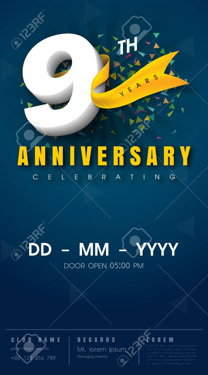 carte d invitation anniversaire 9 ans conception de modele de celebration elements de design moderne 9e anniversaire fond bleu fonce