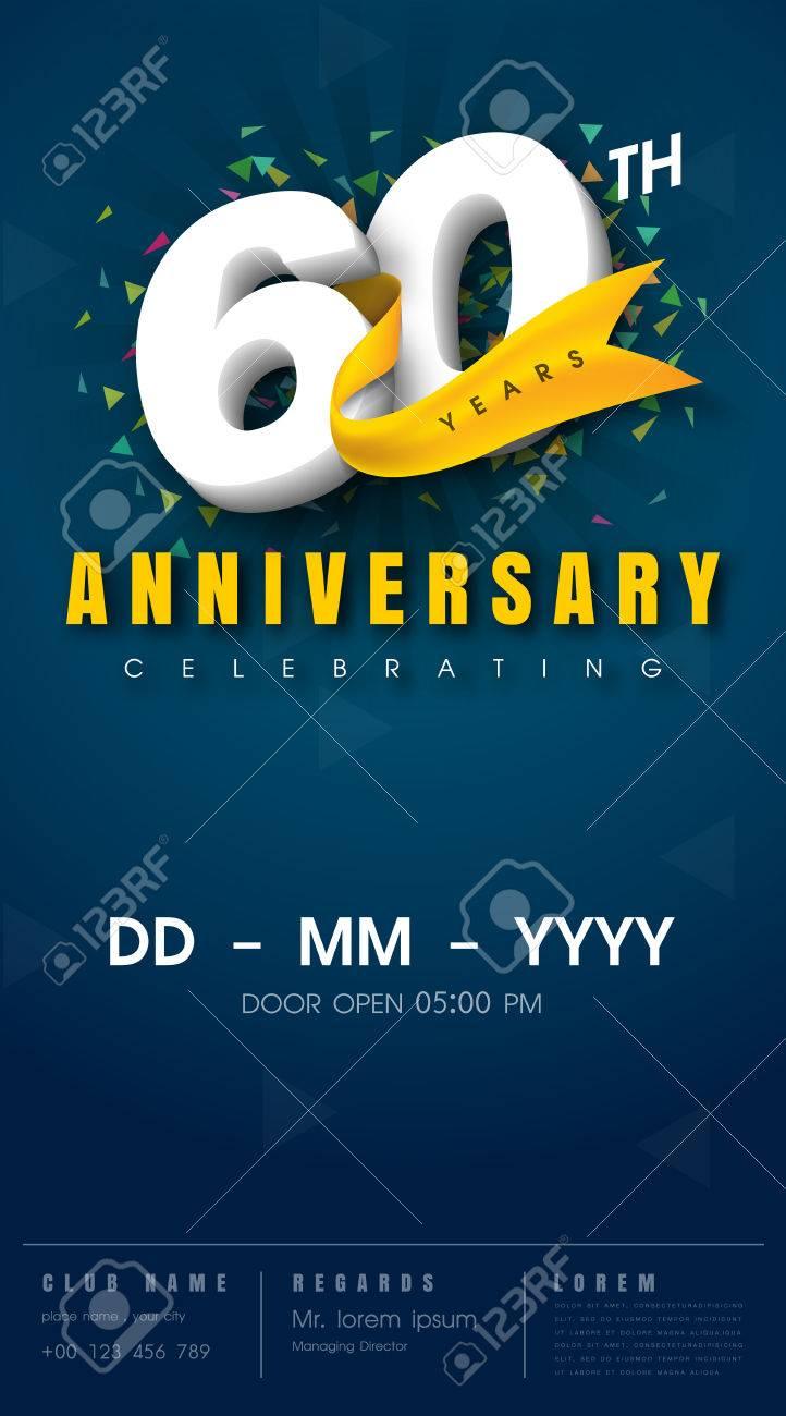 carte d invitation anniversaire 60 ans conception de modele de celebration elements de design moderne 60e anniversaire fond bleu fonce