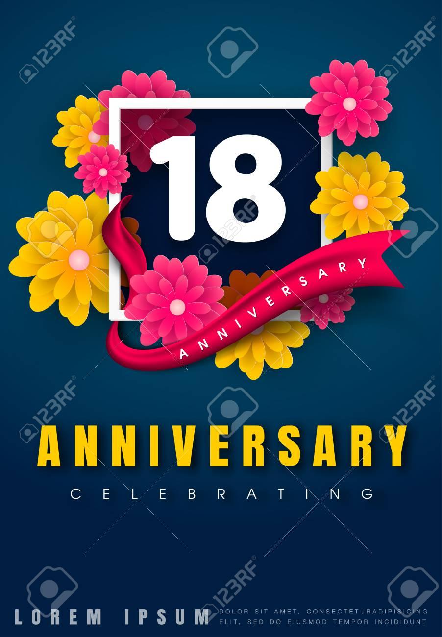 carte d invitation anniversaire 18 ans modele de celebration 18e anniversaire avec des fleurs et des elements de design moderne fond bleu fonce